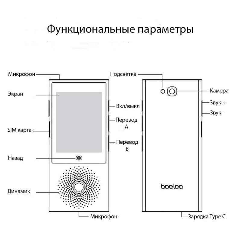 Голосовой переводчик W1 кнопки